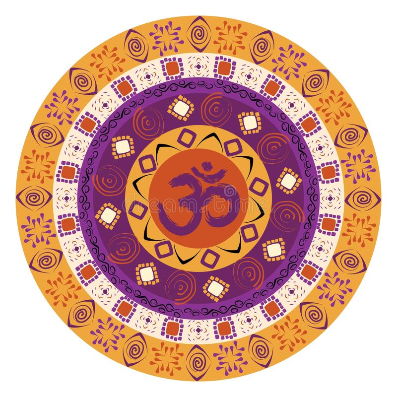 Mandala coloré avec le symbole de l'OM illustration stock