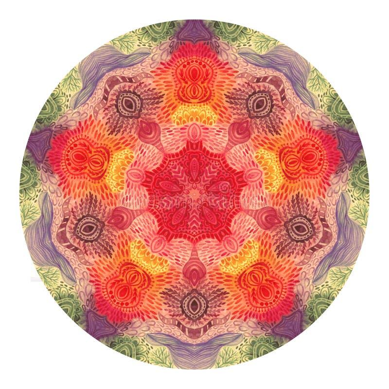 Mandala coloré d'aquarelle Modèle rond de vintage oriental Fond abstrait tiré par la main Motif mystique de tabouret illustration de vecteur