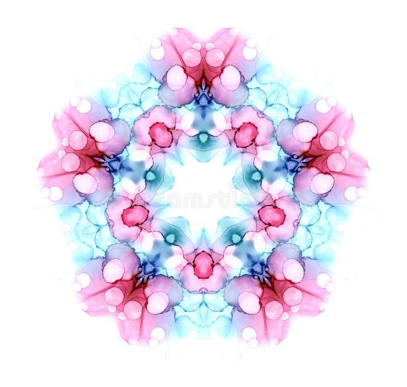 Mandala coloré de fleurs d'aquarelle isolé sur fond blanc Effet Kaleidoscope photographie stock libre de droits