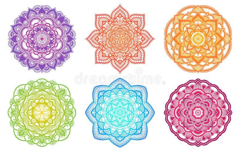Mandala coloré de gradient Ornement rond ethnique Motif indien tiré par la main de henné Thème de yoga de méditation de Mehendi s illustration de vecteur