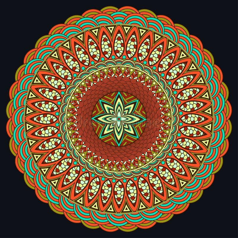 Mandala coloré Style de Boho, bijoux hippies Modèle rond d'ornement Éléments décoratifs de cru Modèle oriental, arabe illustration stock