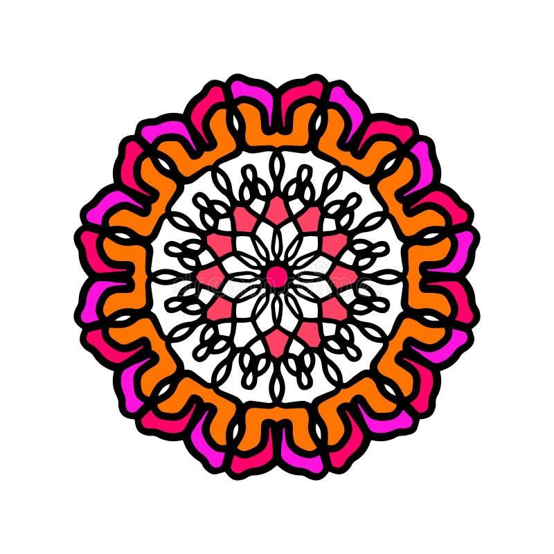 Mandala coloré tiré par la main d'abrégé sur fleur pour des classes de joga illustration libre de droits