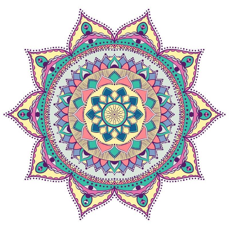 Mandala color? pour livre de coloriage Ornements ronds d?coratifs Forme peu commune de fleur Vecteur oriental, th?rapie d'Anti-ef image libre de droits