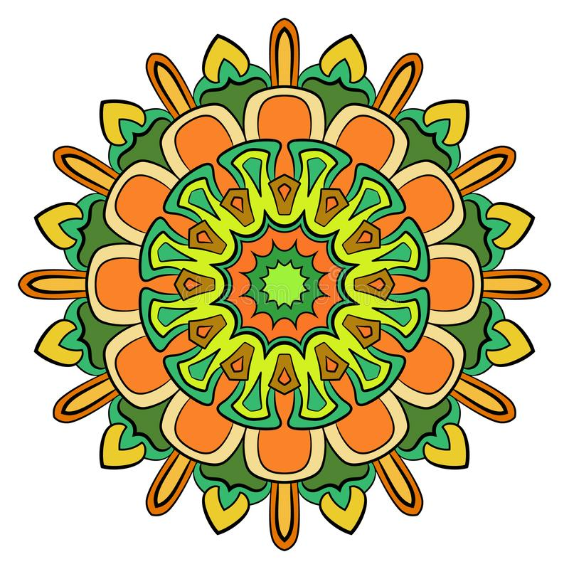 Mandala colorata per il libro di colore Modello simmetrico nel cerchio Illustrazione per l'album Modello per la stampa sui tessut illustrazione di stock
