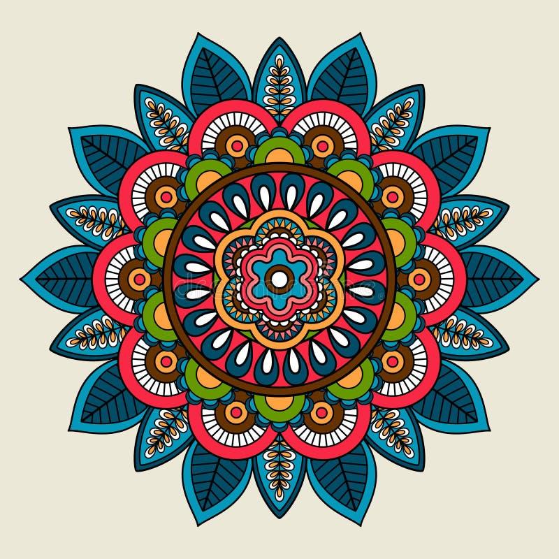 Mandala coloreada floral del boho del garabato stock de ilustración