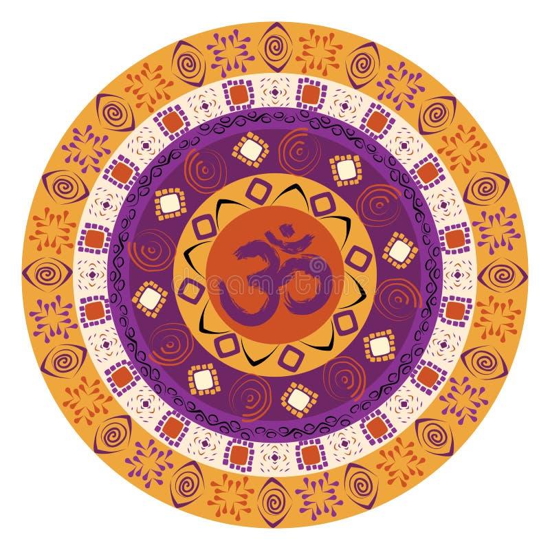 Mandala colorida con símbolo de OM stock de ilustración