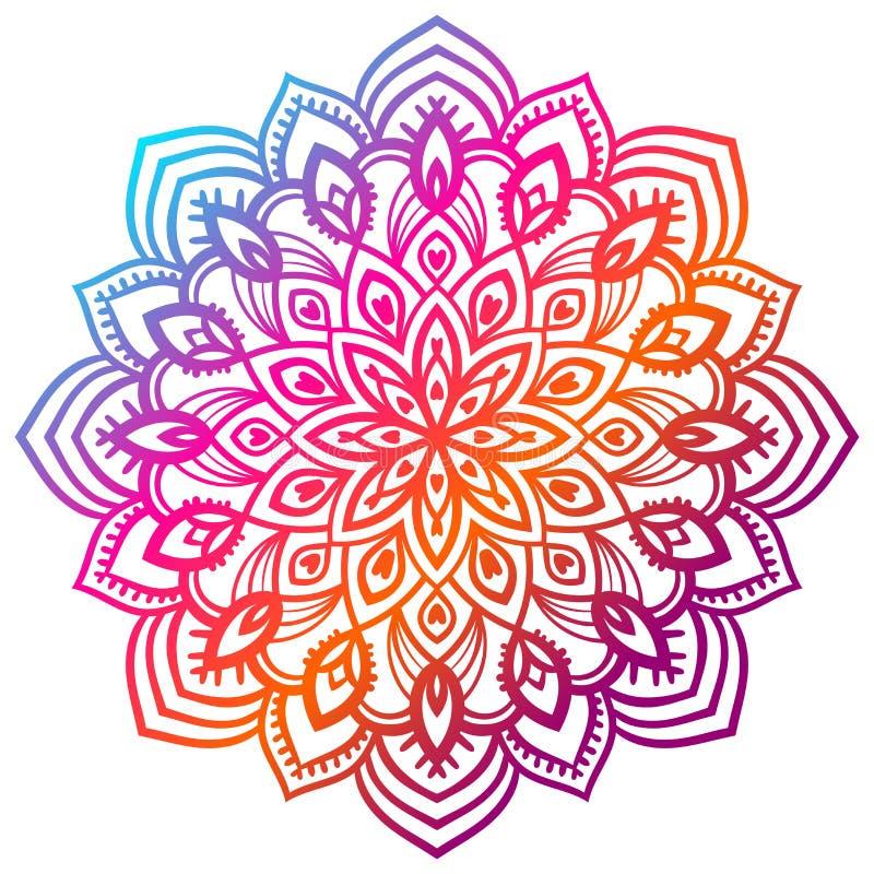 Mandala colorida da flor do inclinação Elemento decorativo desenhado mão Elemento floral da garatuja redonda decorativa ilustração stock