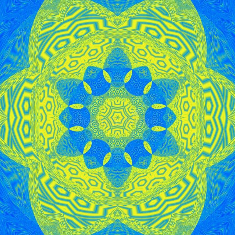 Mandala colorida da telha do ornamento abstrato garrido no porto azul e no amarelo ilustração royalty free