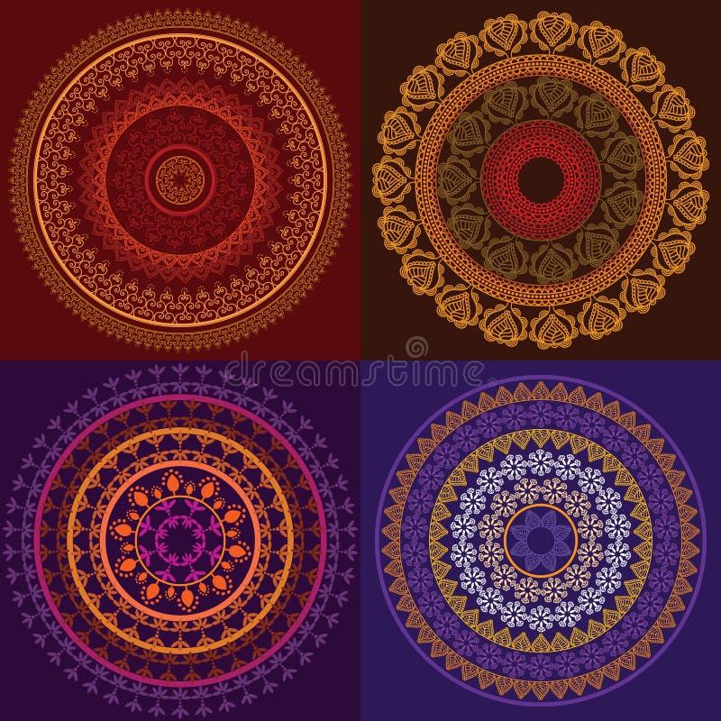 Mandala colorida de la alheña ilustración del vector