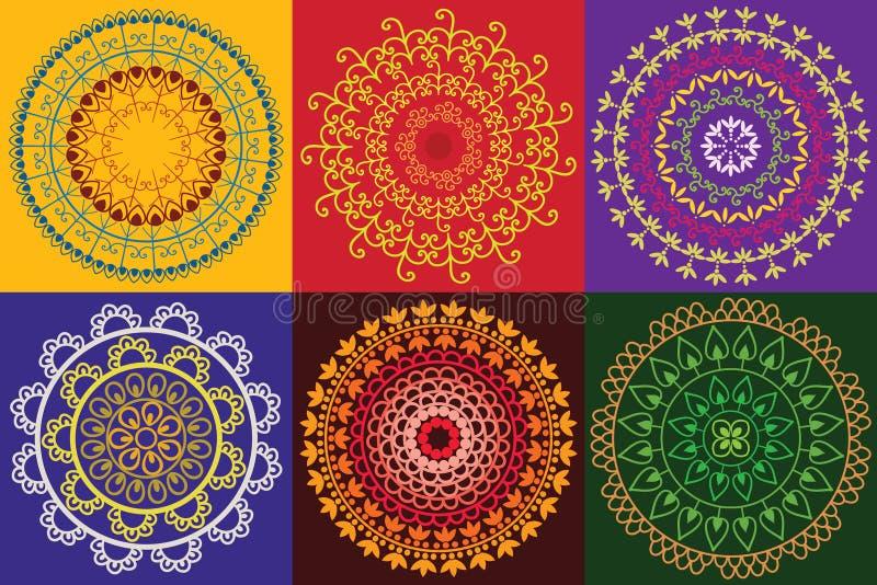 Mandala colorida de la alheña stock de ilustración
