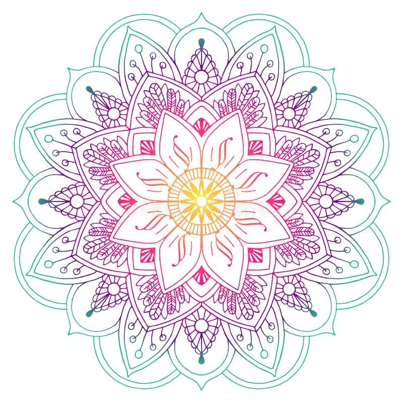 Mandala Colorida Decorativa No Pessego E Em Cores Verdes