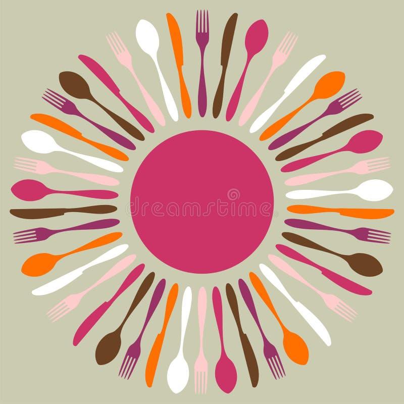 Mandala colorida do restaurante da cutelaria ilustração royalty free