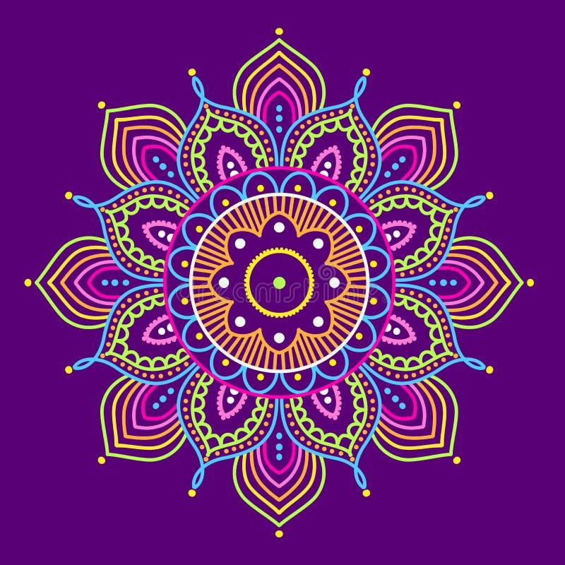 Mandala colorida no fundo roxo, ilustração ilustração royalty free