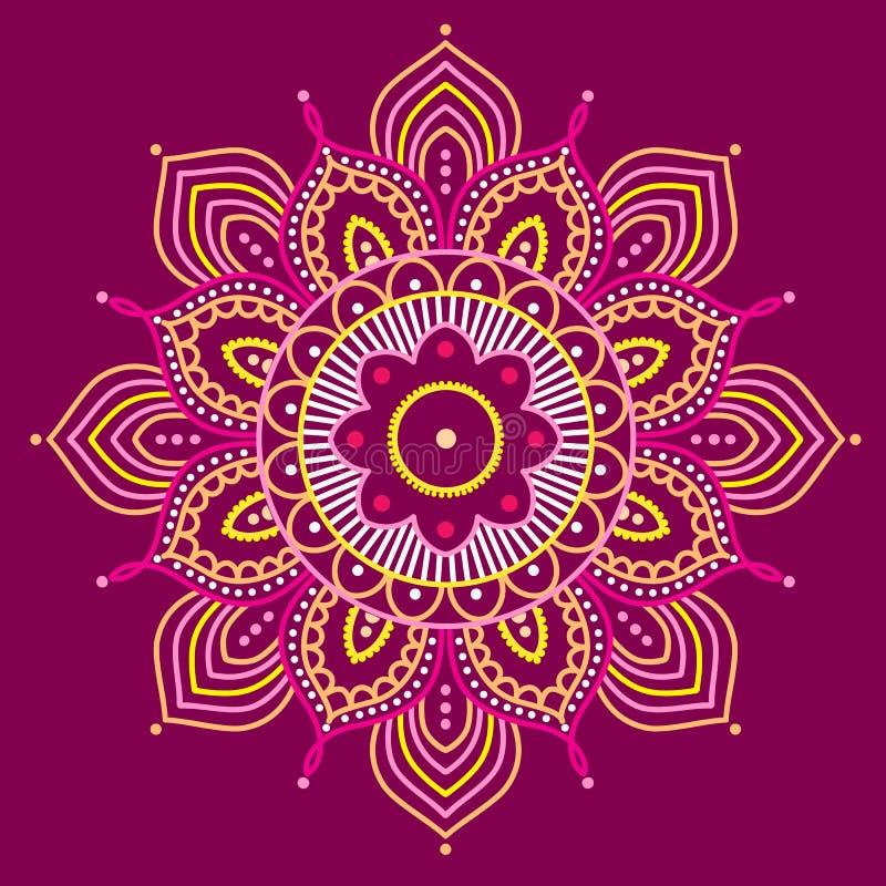 Mandala colorida no fundo roxo, ilustração ilustração do vetor