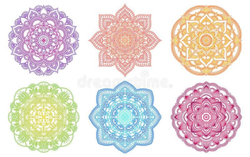 Mandala colorida Ornamento redondo étnico do inclinação Motivo indiano tirado mão Tema da hena da ioga da meditação de Mehendi or ilustração do vetor
