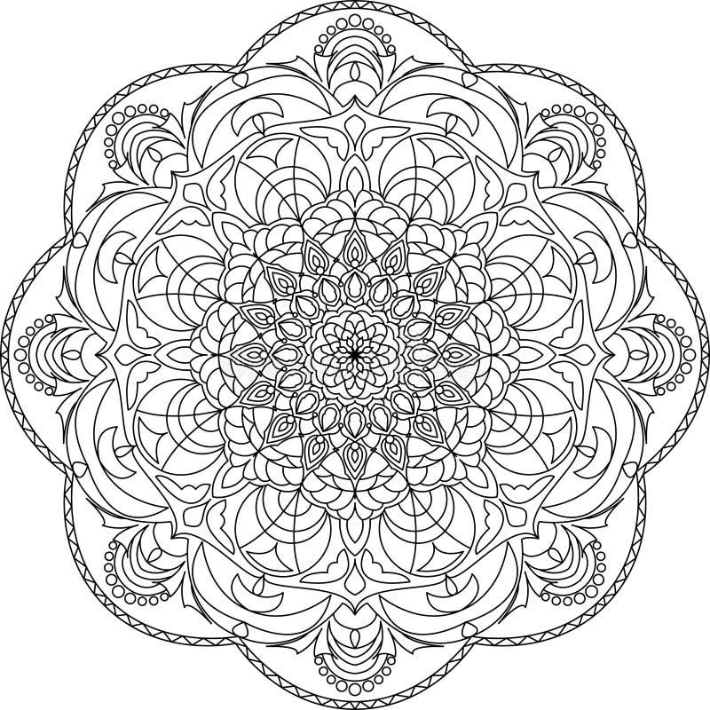 Mandala colorida para el libro de colorear Ornamentos redondos decorativos stock de ilustración