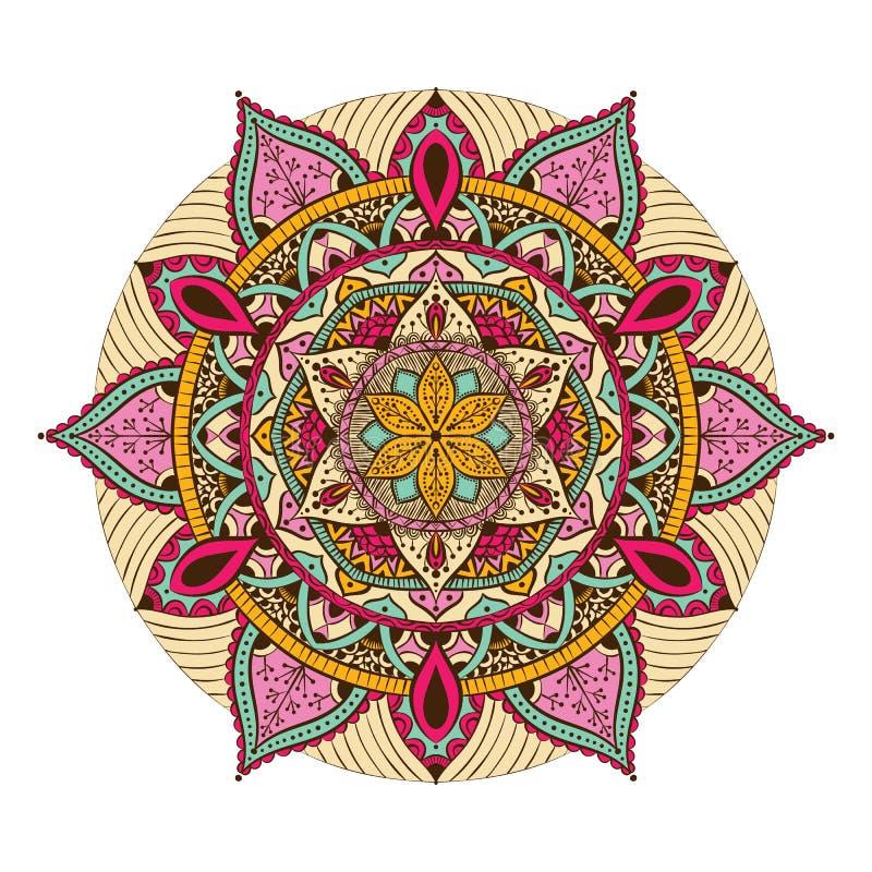 Mandala colorida para o livro para colorir Ornamento redondos decorativos Forma incomum da flor Vetor oriental, terapia do Anti-e ilustração royalty free