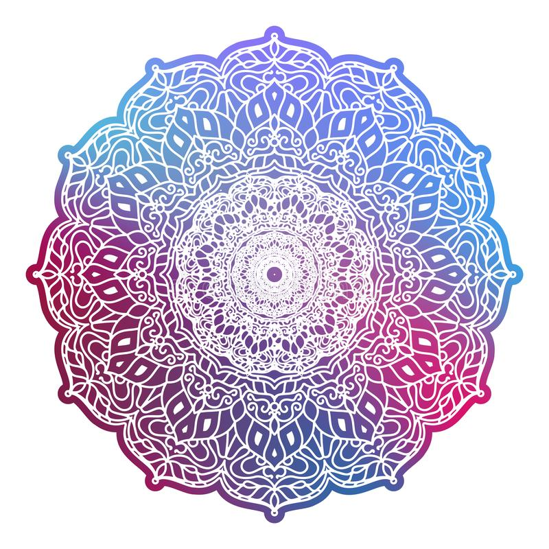 Mandala colorida redonda isolada Elementos decorativos do vintage Teste padr?o oriental Eps 10 ilustração stock