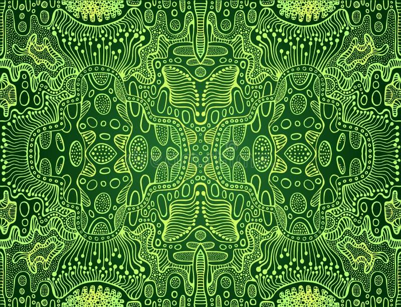 Mandala colorida trippy brillante psicodélica del fractal, cal, esquema amarillo del color de la pendiente, en fondo verde oscuro stock de ilustración