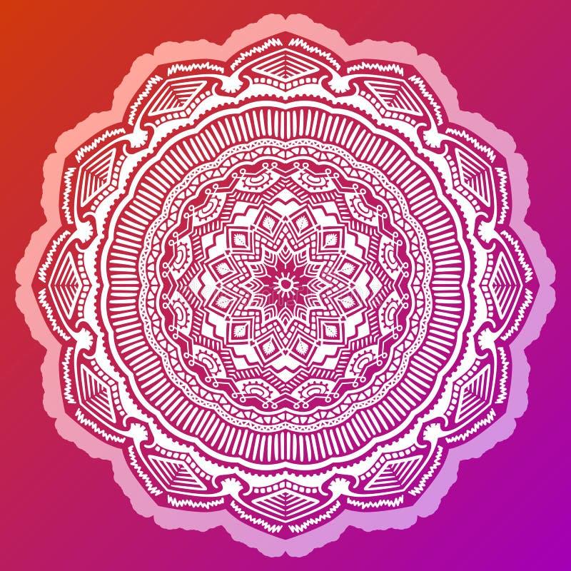 Mandala colorindo Antistress no fundo vermelho ilustração stock