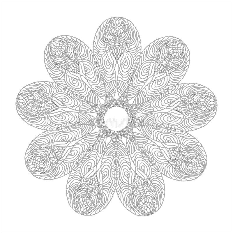 Mandala for coloring book page. Abstract decorative round ornament. Antistress art for adults. Vector design element. Natural,. Weave, floral motifs vector illustration