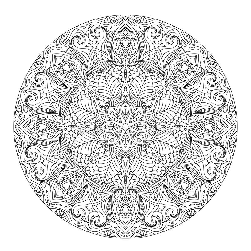 Mandala for coloring book. Page for kids and adults. Patterned Design Element. Zentangle style stock illustration