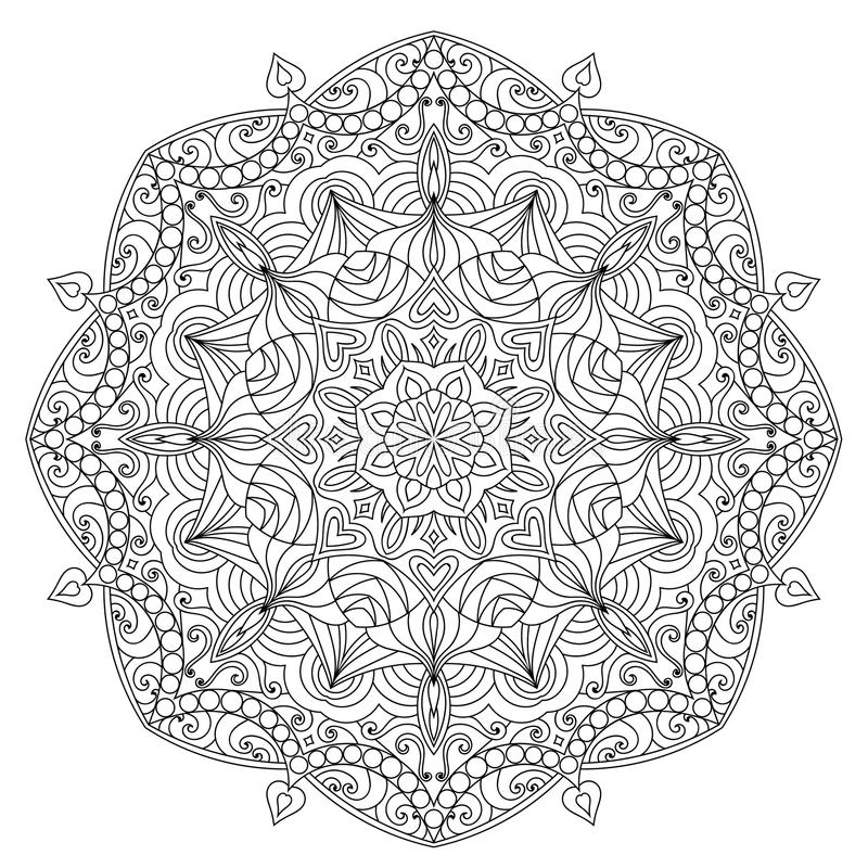 Mandala for coloring book page. For kids and adults. Patterned Design Element. Zentangle style stock illustration