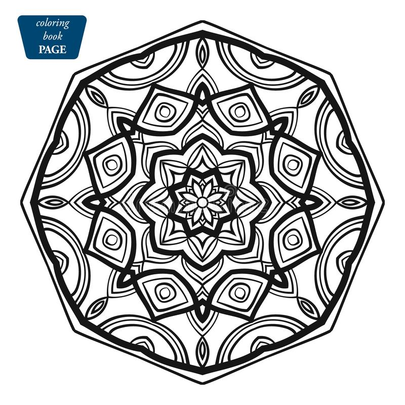 Mandala. Coloring book pages. Indian antistress medallion. Abstract islamic flower, arabic henna design, yoga symbol vector illustration