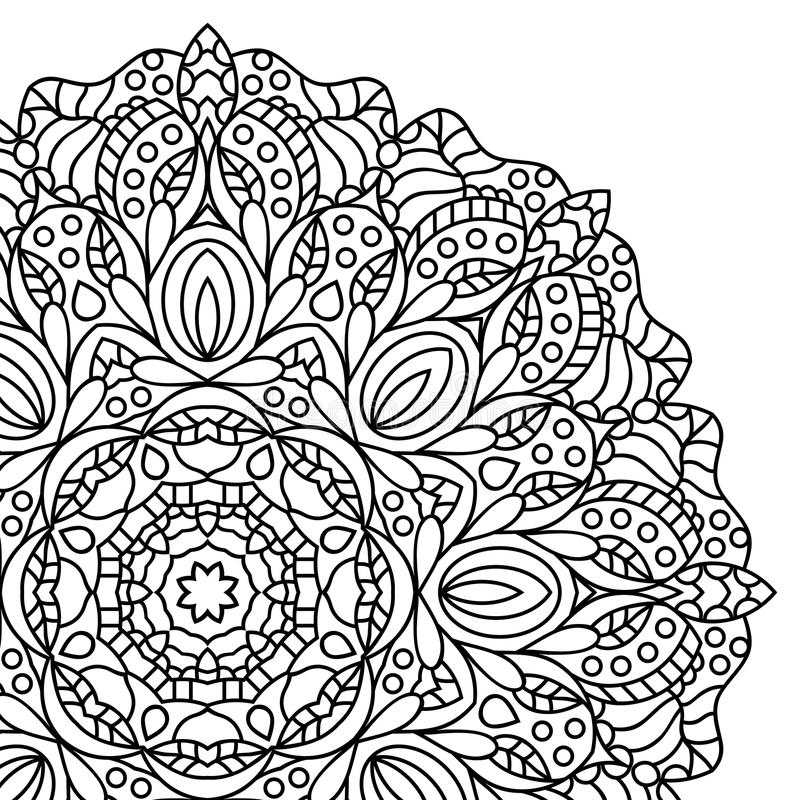 Mandala. Coloring book pages. Indian antistress medallion. Abstract islamic flower, arabic henna design, yoga symbol. White background, black outline. Vector vector illustration