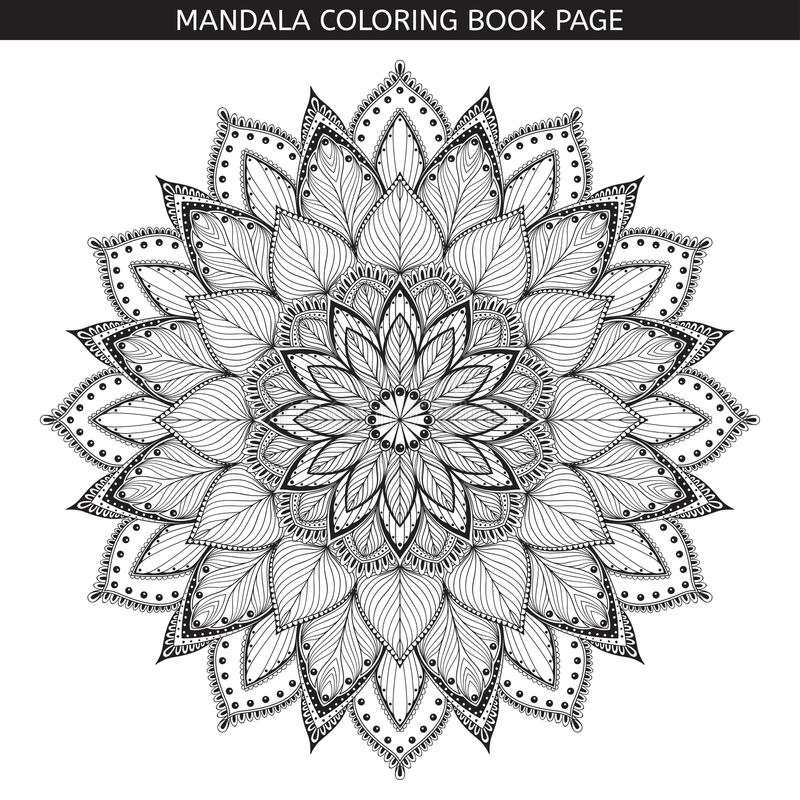 Mandala. Coloring book pages. Indian antistress medallion. White background, black outline. Vector illustration. stock illustration