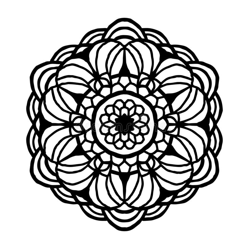 Mandala for coloring book. Unusual flower shape. Decorative round ornaments, Anti-stress therapy pattern. Weave design stock illustration