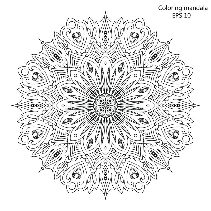 Mandala Coloring Page For Adult Vector Illustration Stock Vector ...