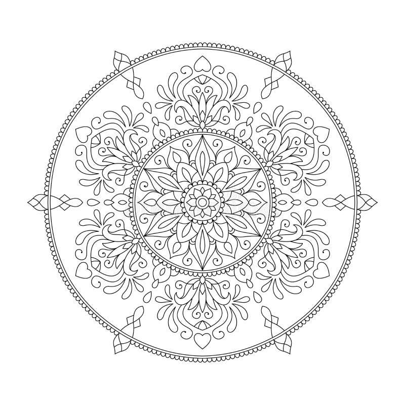Mandala Coloring Page Flower Design beståndsdel för vuxen färgbok royaltyfri illustrationer