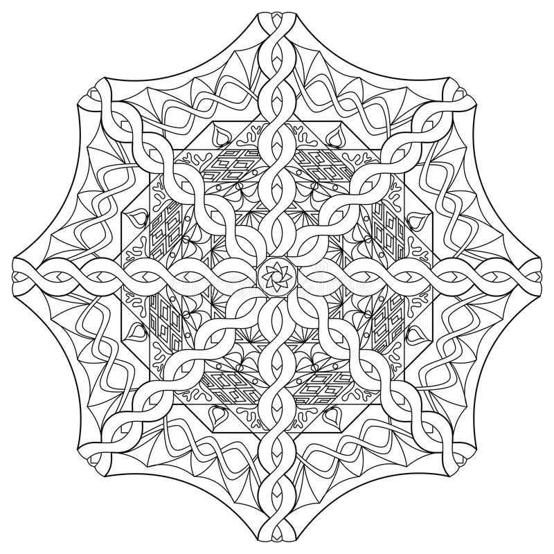Mandala coloring page. Tibetan mandala. Vector illustration. Hand drawn vector illustration