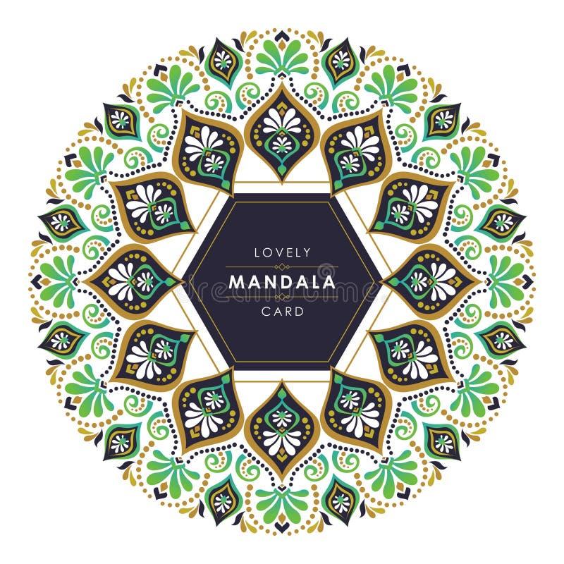 Mandala com projeto decorativo à moda e bonito ilustração stock