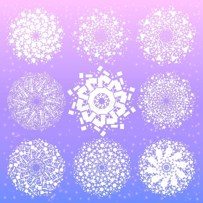 Mandala com símbolos sagrados e elementos da geometria ilustração stock