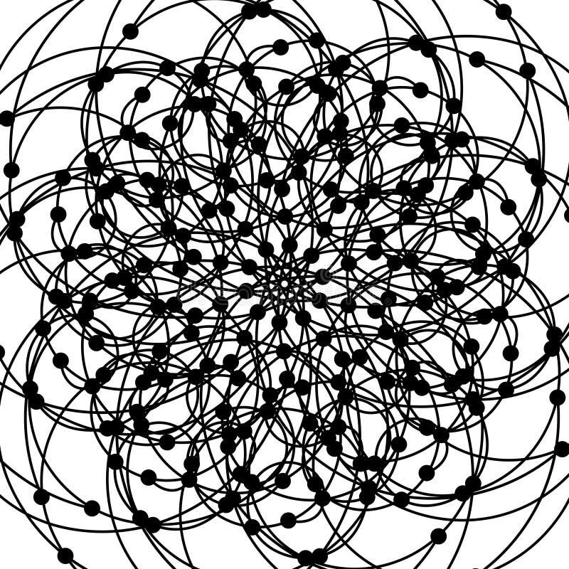 Mandala com símbolos sagrados e elementos da geometria ilustração do vetor