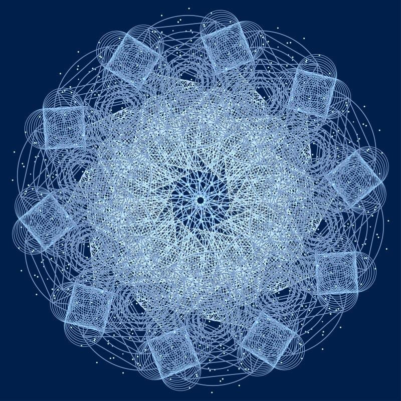 Mandala com símbolos sagrados e elementos da geometria ilustração royalty free