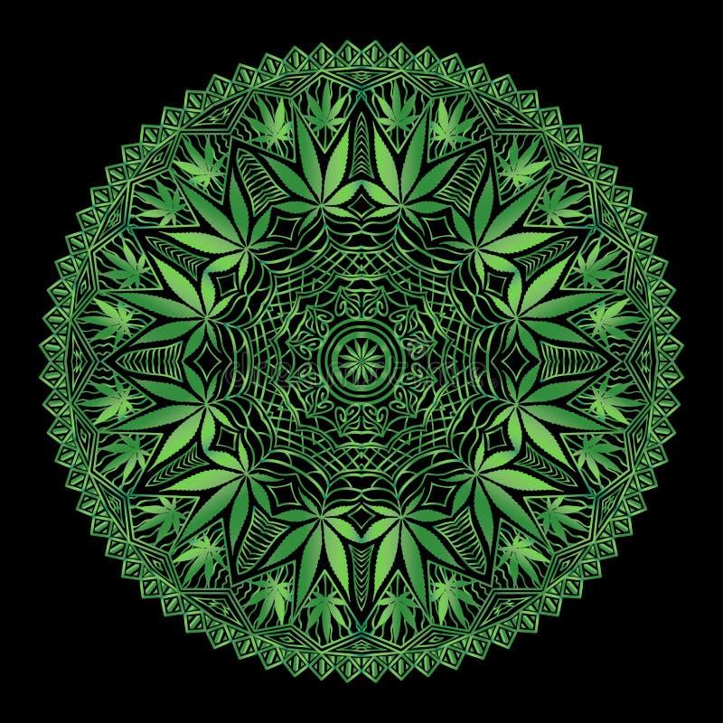 Mandala compleja de Marijiana del cáñamo stock de ilustración