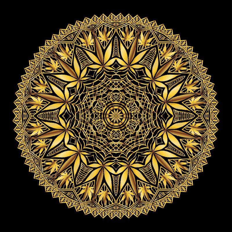 Mandala compleja de Marijiana del cáñamo en oro ilustración del vector