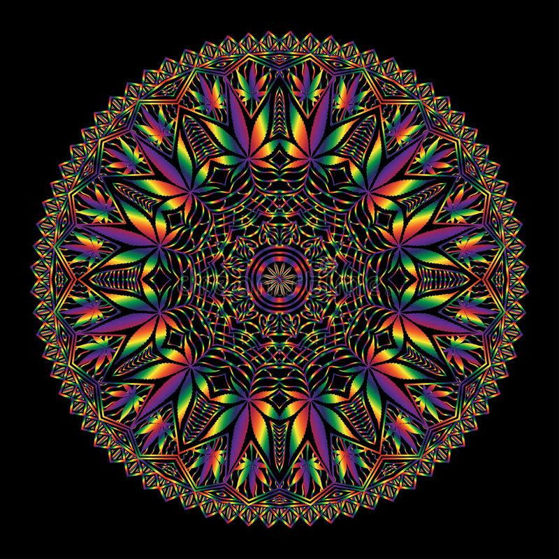 Mandala complexe de marijuana de cannabis illustration stock