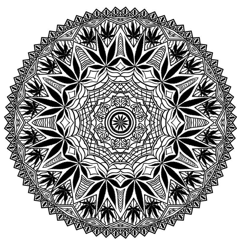 Mandala complexe de marijuana de cannabis illustration libre de droits