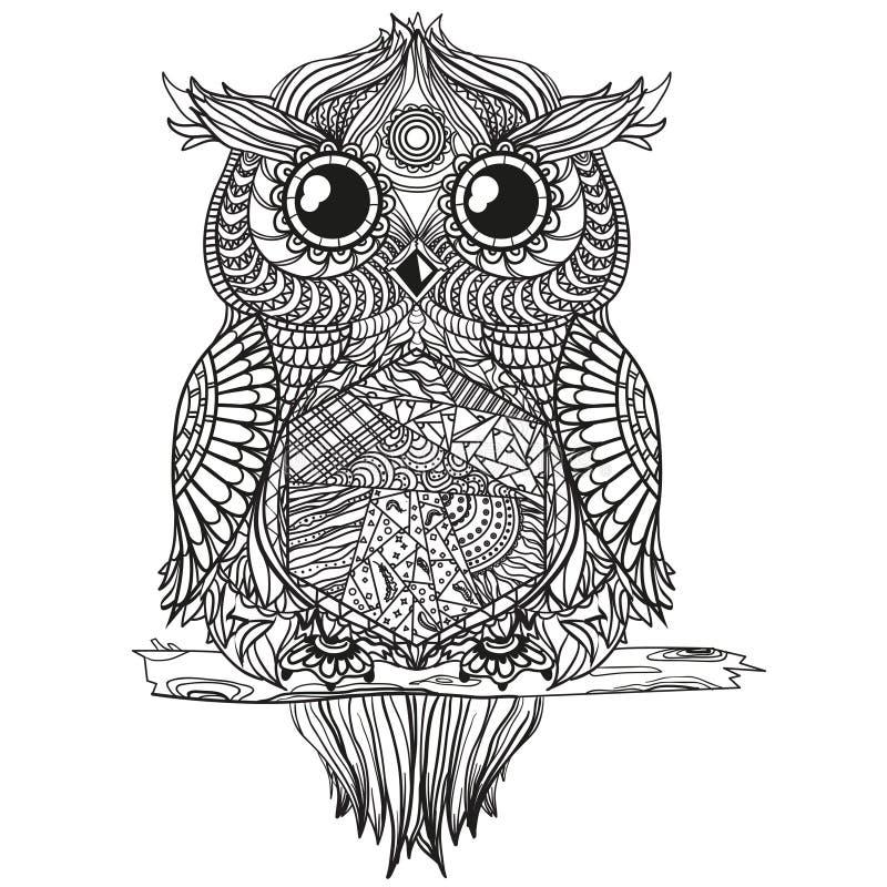 Mandala con el búho stock de ilustración
