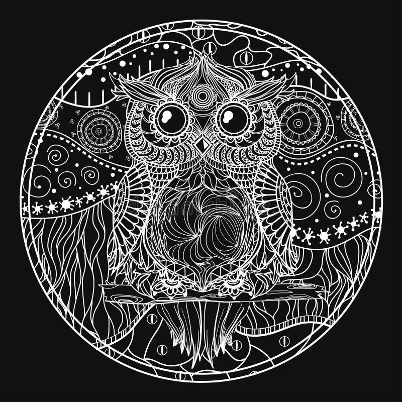 Mandala con el búho ilustración del vector