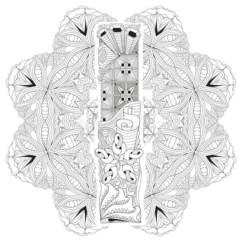 Mandala Con La Letra I Para Colorear Zentangle Decorativo Del Vector ...