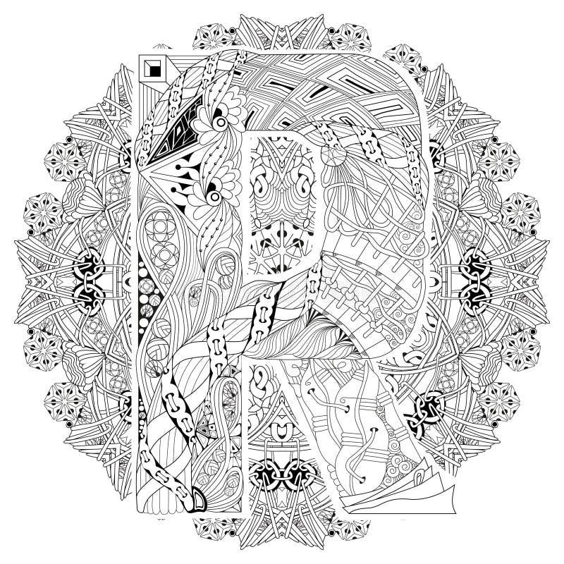 Mandala Con La Letra R Para Colorear Zentangle Decorativo Del Vector ...