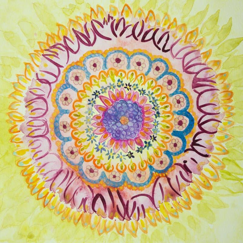 Mandala con las llamas soleadas ilustración del vector