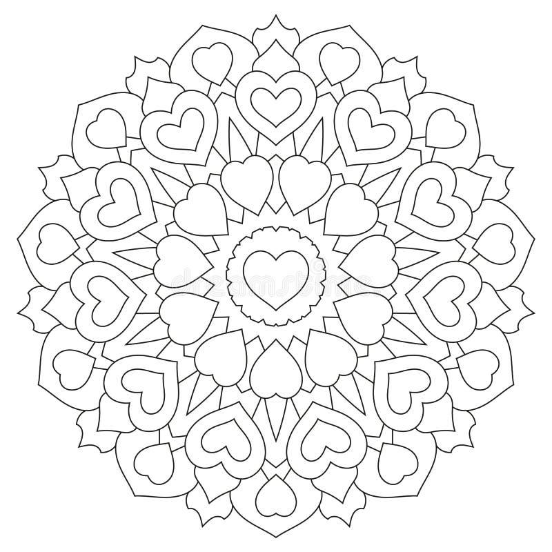 Mandala Con Los Corazones Página Del Libro De Colorear Ilustración ...