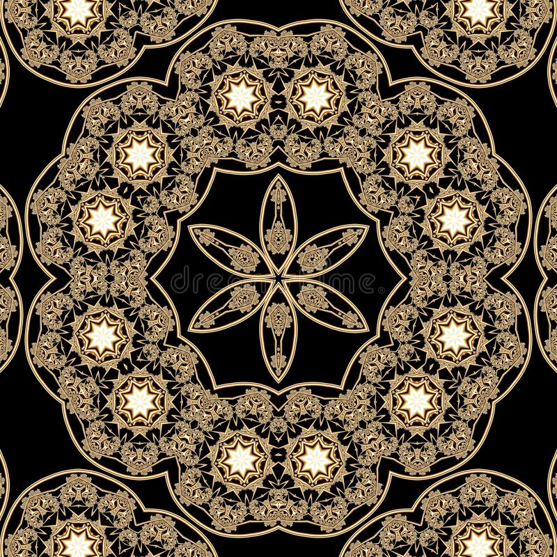 Mandala con los ornamentos del oro y las estrellas que brillan intensamente en un fondo negro libre illustration