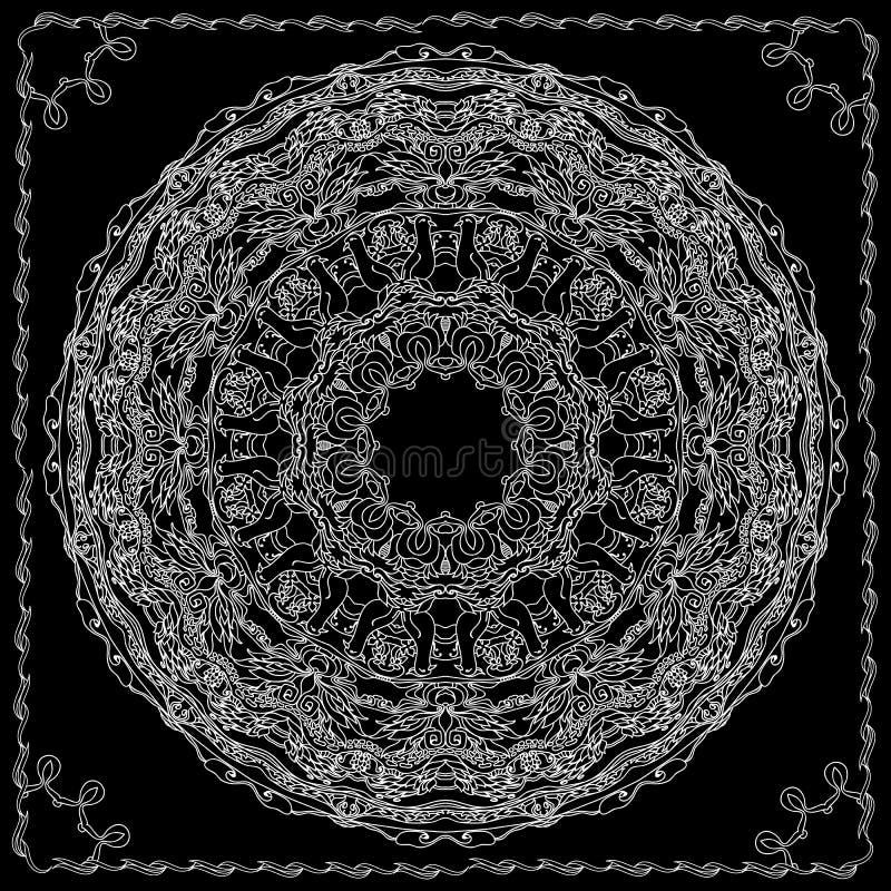 Mandala con los pájaros contorneados y los elementos decorativos étnicos florales ilustración del vector